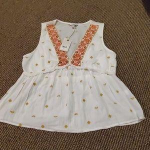 NWT Lucky Brand size M gold orange white tank top